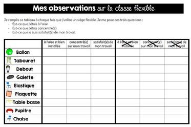 Observations des élèves autour de la classe flexible