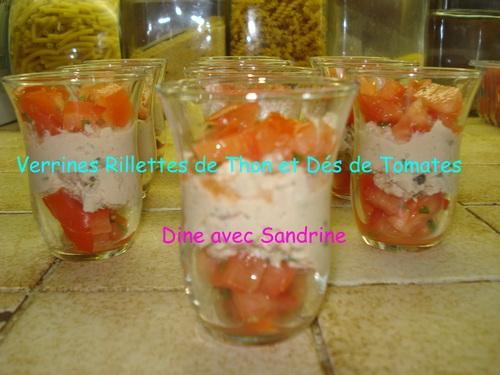 Des Verrines Apéritives Rillettes de Thon et Dés de Tomates