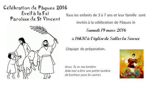 Invitation célébration de Pâques le 19 mars 2016 à Salles la Source
