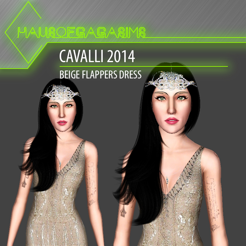 CAVALLI 2014 BEIGE FLAPPERS DRESS