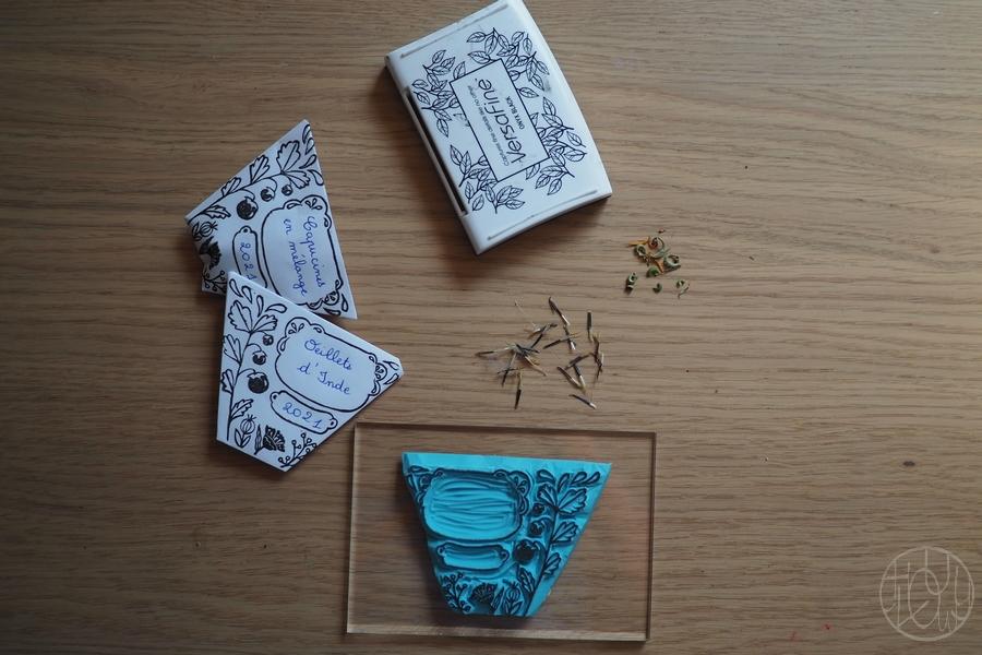 Tampon gravé pour sachets de graines