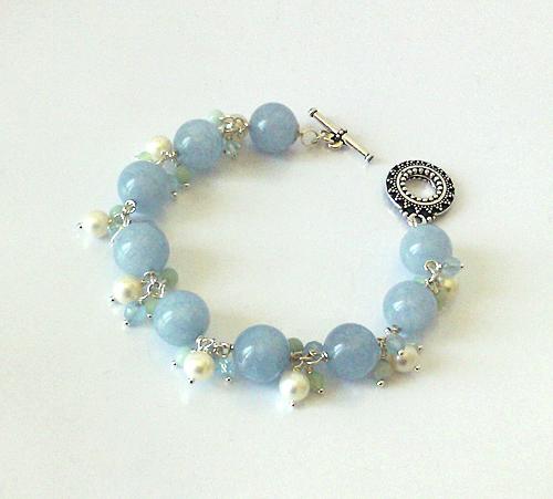 Bracelet Grappe Pierre de Quartz bleu, Amazonite, perles de Culture et Cristal de Swarovski / Plaqué argent