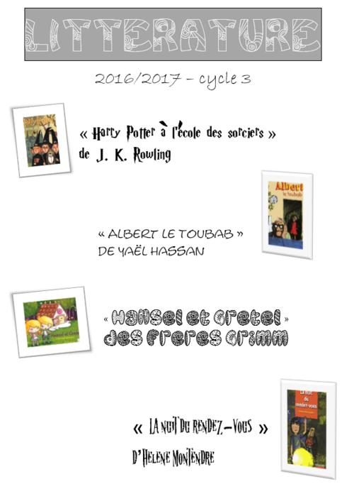 La liste des œuvres que nous allons étudier cette année en CM1-CM2