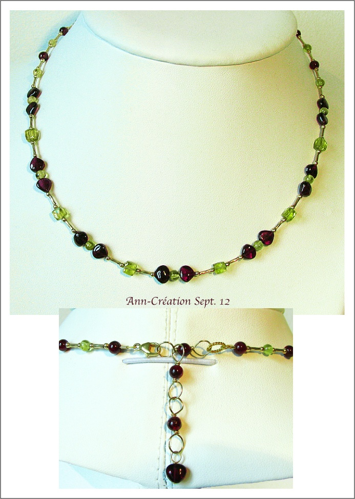 Collier Grenat, Peridot / Plaqué Or  14kt Gold Filled