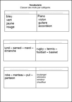 vocabulaire CE1, CE1,cycle 2