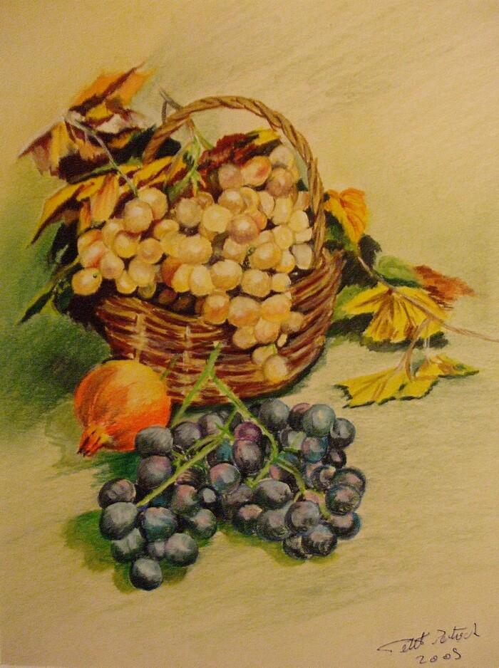 Panier de raisin et oignon