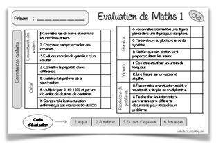 Evaluations de maths CM1