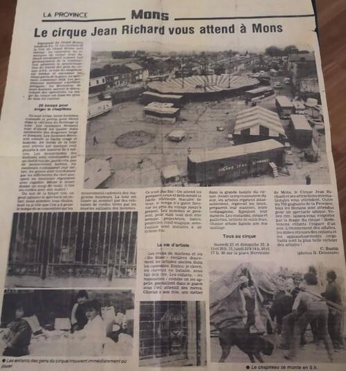 le cirque Jean Richard à Mons (en  Belgique) les 21 et 22 mai 1983 ( archives Bruno Lagarde)