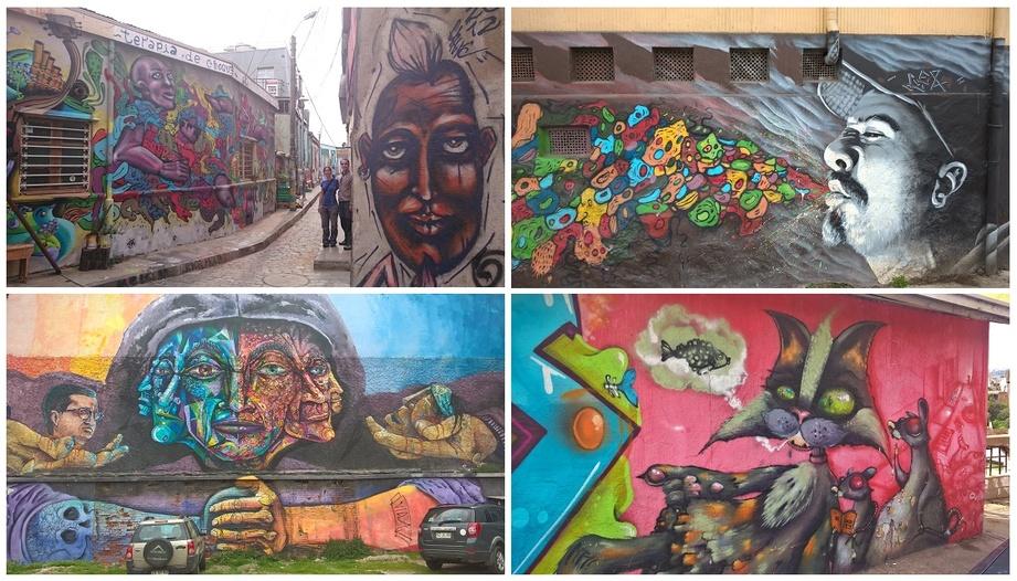 des rues tagguées à Valparaiso