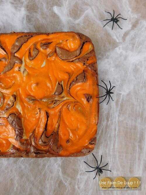 Brownie marbré façon cheesecake d'Halloween