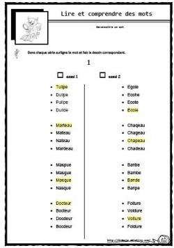 Mot ou non mot lecture CP CE1 difficulté