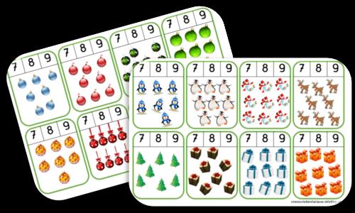 Cartes à pincer sur les nombres 7, 8, 9