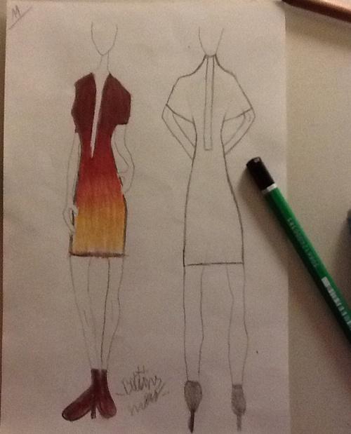 Dessin robe courte coloré