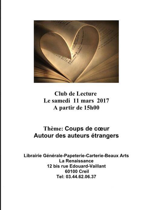 Samedi 11 mars 15h à la Librairie de la Renaissance à Creil