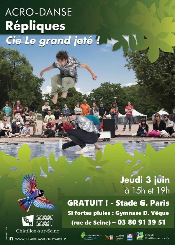 """""""Répliques"""" par la Compagnie du Grand Jeté, vous attendra gratuitement  le 3 juin au stade Gaston Paris de Châtillon sur Seine...."""