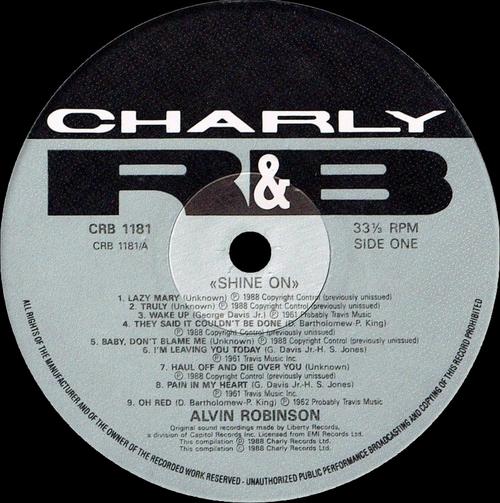 "Alvin Robinson : CD "" Shine On "" Charly R&B Records CRB 1181 [ UK ]"