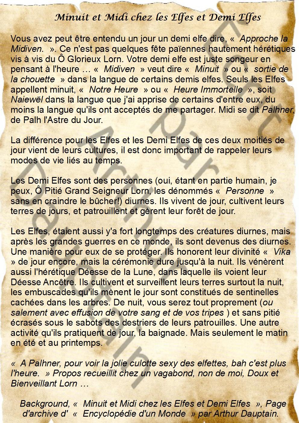 [Culture et Langue Elfique] Minuit et Midi chez les Elfes et Demi Elfes