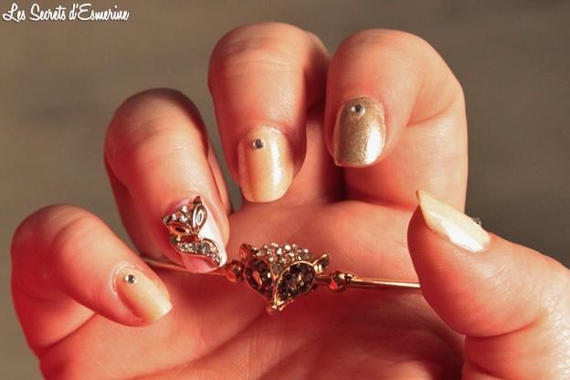 nail art, 3d, renard, bracelet