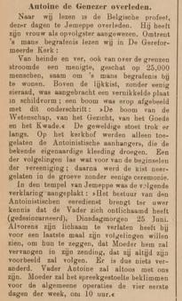 Antoine de Genezer overleden (Ter Neuzensch Volksblad, 14 augustus 1912)