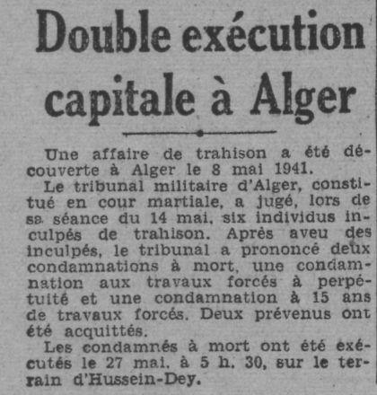 27.5.1941 exécution de Bouras Mohamed