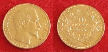 monnaie 20 francs OR Napoléon III 1854  23 juin 2015 avers. revers
