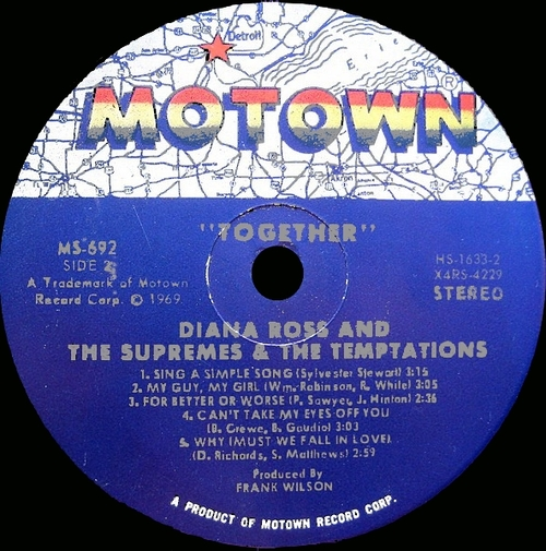 """Diana Ross & The Supremes With The Temptations : Album """" Together """" Motown Records MS 692 [ US ]"""
