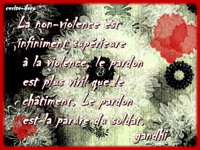 citation illustrée : la non violene par gandhi