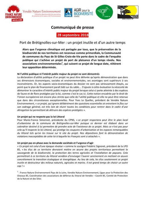 Projet de port de Brétignolles : une opposition toujours déterminée