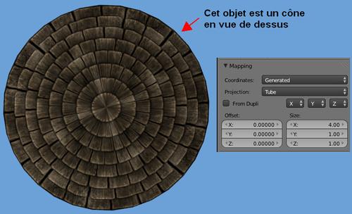 Mapper un toit conique