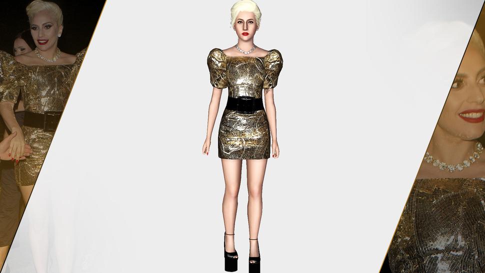 SAINT LAURENT 2016 GOLD SEQUIN DRESS