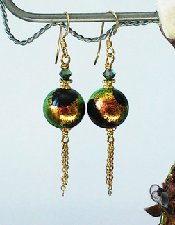 Boucles Verre de Murano authentique Noir Feuille d'Or / Cristal de Swarovski, Plaqué Or Gold Filled