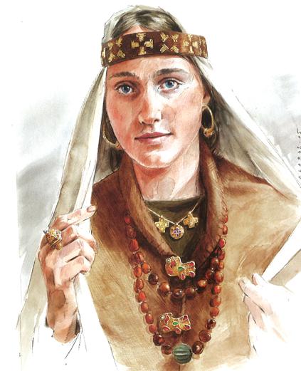Portrait d'artiste de la dame de Grez-Doiceau (Brabant wallon, milieu du VIe siècle), avec les bijoux retrouvés dans sa tombe (Benoît Clarys, 2005), DR