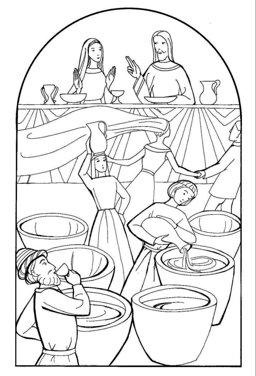 Wedding In Cana Free Colouring