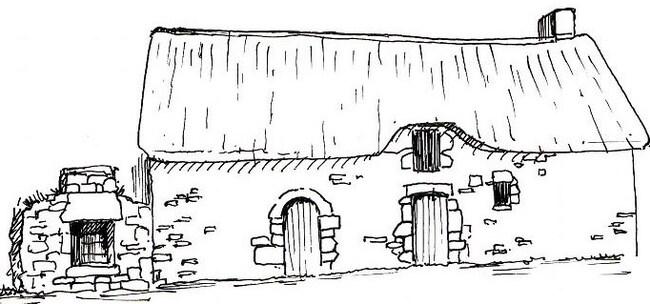 dessin chaumière bretonne