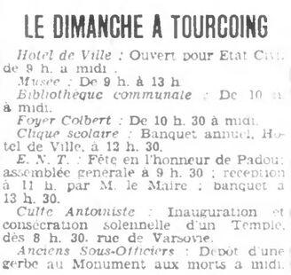 Inauguration du Temple de Tourcoing (Roubaix-Tourcoing 12-12-1937)