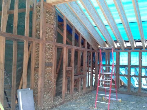 Paille et coulage étage mur ouest et sud : du 14 juillet au 10 août 2014