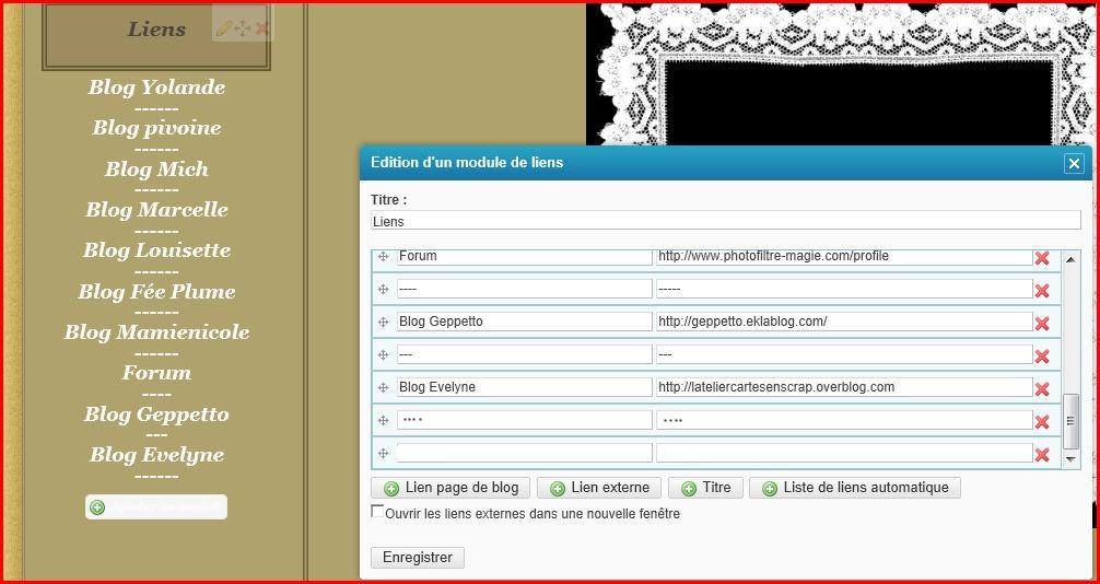 Comment créer votre liste de liens blog amis où Forum etccc