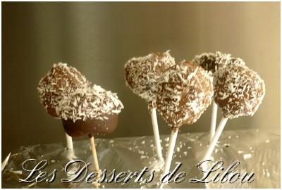 Cake pops chocolat et noix de coco