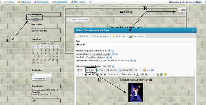 Créer une rubrique - page d'accueil
