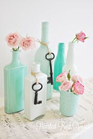 DIY all of your old bottles into something pretty for the mantle vanity or ???  EASY PEASY Tutorial!  Great way to use leftover paint too!: