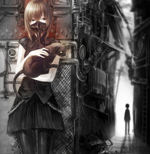 Image de cat, anime, and gas mask