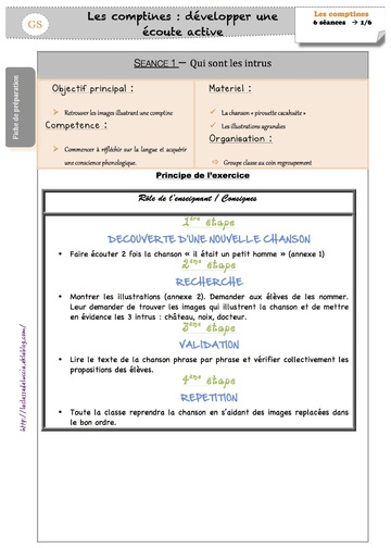 SEQUENCE Les comptines GS