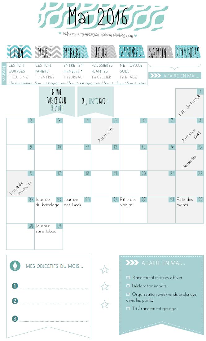 ✿ Un mois de mai organisé {calendrier à imprimer}