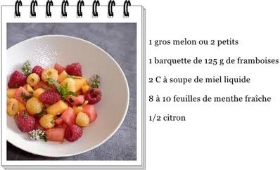 Salade melon, framboises et miel