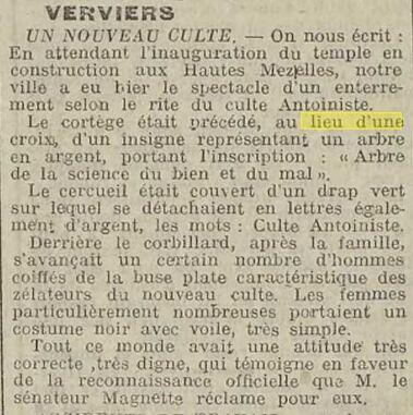 Enterrement antoiniste 1914