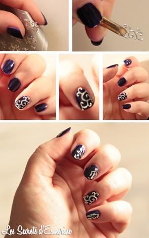 tutoriel, nail art, sticker, 3D, metal, nee jolie, argent