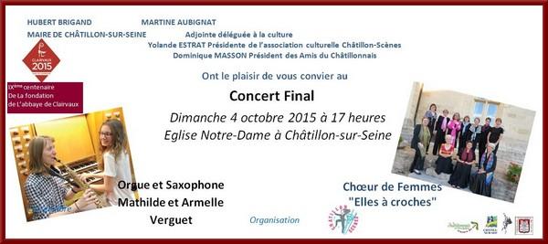Invitation à assister au dernier concert organisé par Châtillon-Scènes pour terminer les commémorations du 900ème anniversaire de la fondation de Clairvaux par saint Bernard