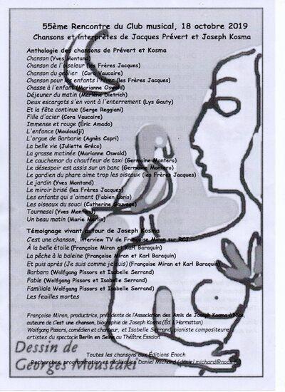 55ème Rencontre Musicale du Club Musical de La Poste : Prévert et Kosma