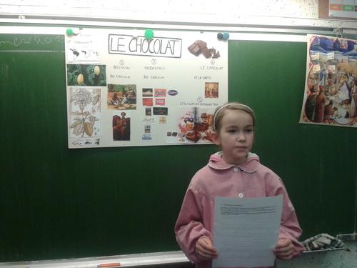 Héloïse nous présente son exposé sur le chocolat