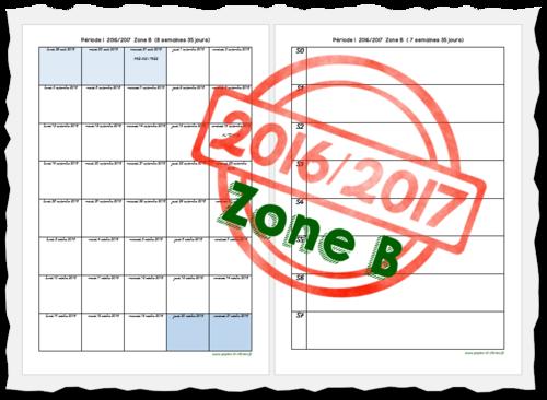 Planning des Périodes Zone B 2016-2017